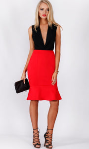 Spicy Sugar Red Ruffle Hem Skirt