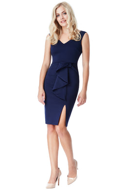 Navy Bow Detail Dress Style DR1355