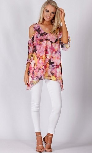 Teaberry Blossom Chiffon Top