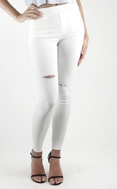 AVA White Ripped Jeggings