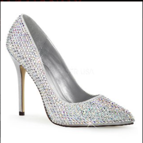 PLEASER Silver Rhinestone Pumps
