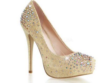 PLEASER Gold Glitter Pumps