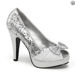 Silver Glitter Pump with Bow