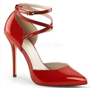 Red Patent Strappy Pump