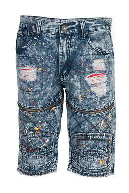 Denim Acid Wash Paint Splash Shorts