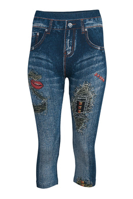 Denim Look 3/4 Leggings - Rockabilly