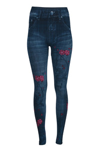 Denim Look Leggings - Pink Floral