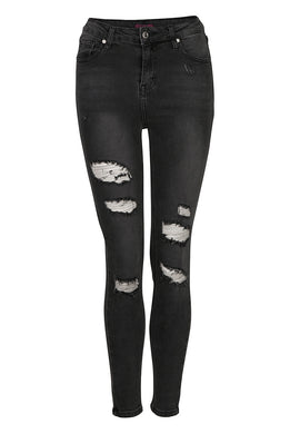 High Waist Grey Ripped Skinny Jeans
