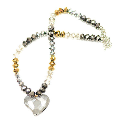 Polished Clear Heart Necklace