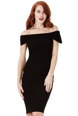 Black Midi Dress with Bow Detail Style DR934