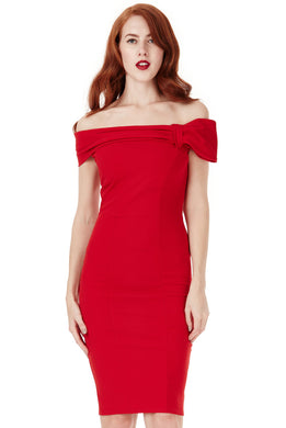 Red Midi Dress with Bow Detail Style DR934