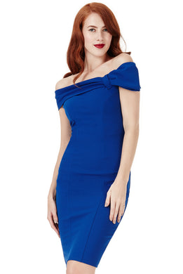Blue Midi Dress with Bow Detail Style DR934