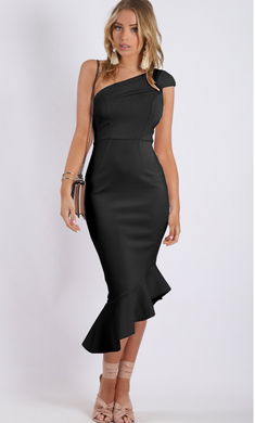 One Shoulder Midi Dress - Black
