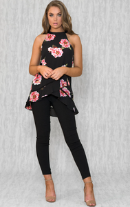 Floral Print Halter Top - Black