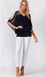 Diamonte Bat Sleeve Layer Top