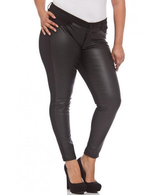 Black Ponte Pants with PU front