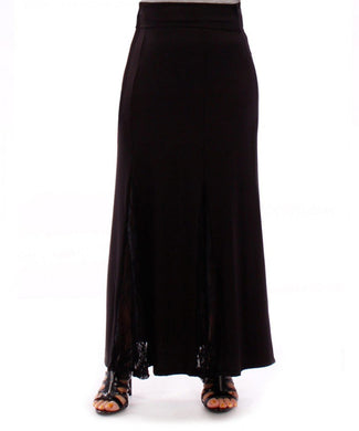 Black Skirt with Lace Panel Inserts