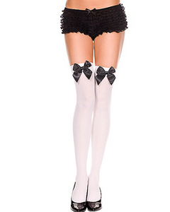 White Thigh Highs with Black Bows