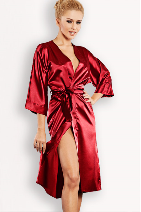 DKaren Luxurious Red Satin Robe