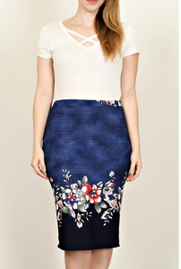 Plus Size Blue Floral Print Skirt