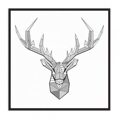 Floating Frame- Geometric Deer 100x100