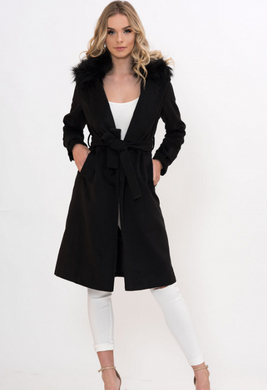 Black Faux Fur Collared Coat
