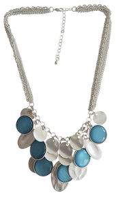 Aqua & Silver Disc Necklace