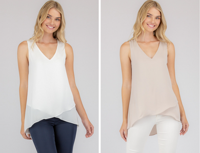 Sleeveless Top With Asymmetrical Hem