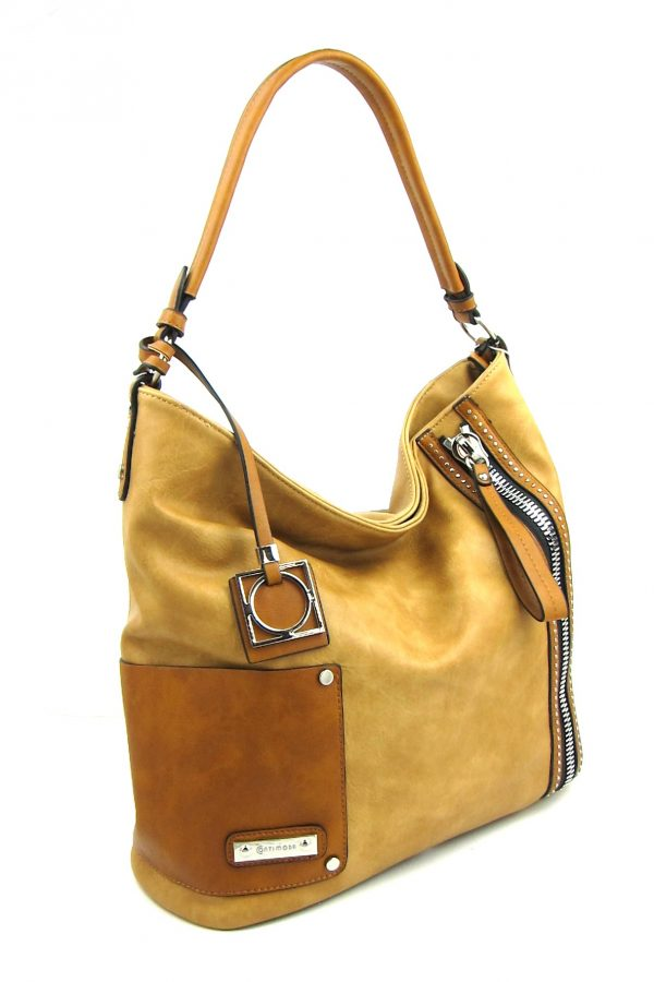 Large Faux leather Slouch Handbag  - Camel