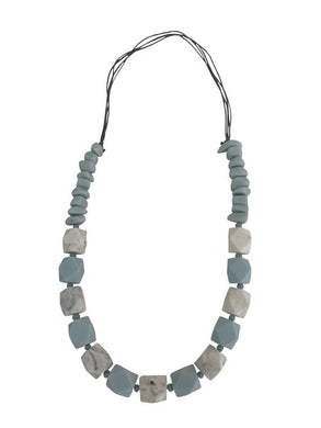 Light Blue and Grey Resin Necklace