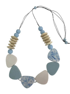 Wooden Glass & Resin Necklace - Blue