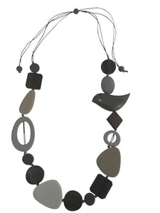 Bird Wooden Necklace - Grey
