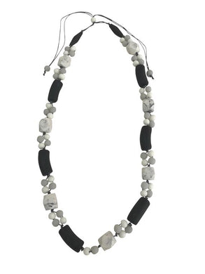 Long Black and White Resin Necklace