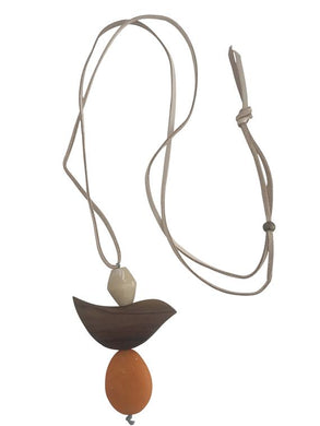 Leather Necklace Wooden Feature - Chocolate