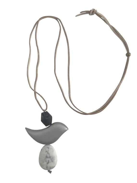 Leather Necklace Wooden Feature - Grey