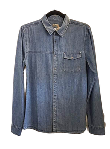 Mid Blue Denim Pocket Shirt