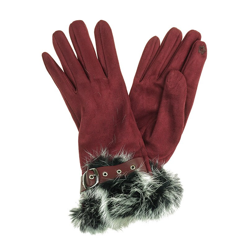 Gloves with Faux Fur Trim - Wine
