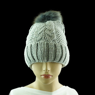 Cable Beanie with Fur Pom Pom - Grey