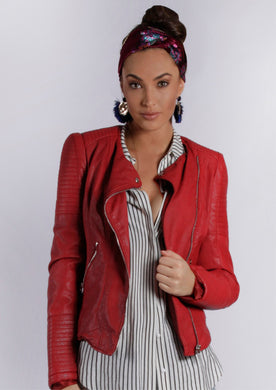 Double Breasted Biker Jacket - Red