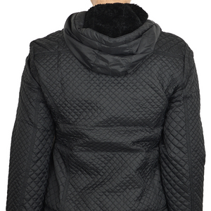 Quilted Zip up Jacket with Hood - Black