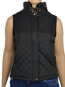 Black Quilted Vest with Pockets