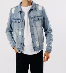 Light Blue Distressed Denim Jacket