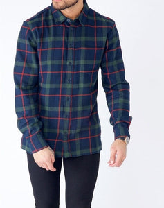 Flannel Check Shirt - Green/Navy Check