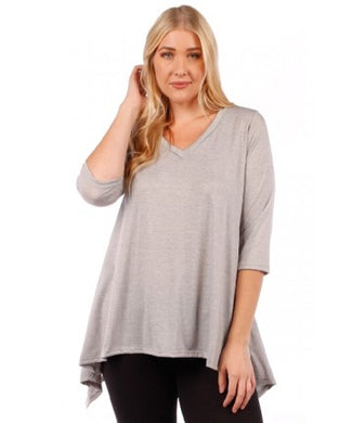 Long Blouse with Curved Hem