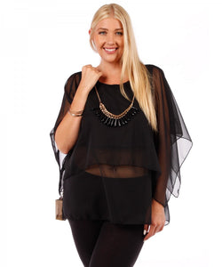 Layered Chiffon Blouse with Necklace - Black