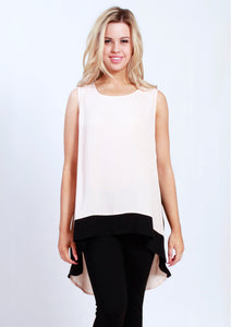 Pink Top with High Low Black Hemline
