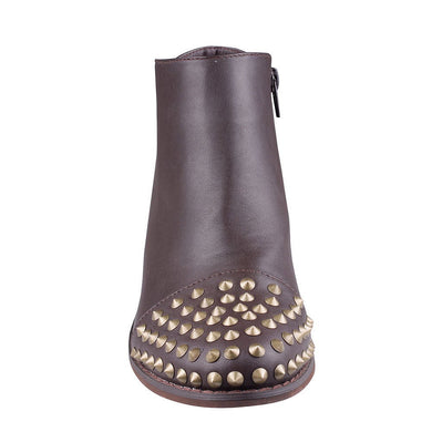Brown Ankle Boot With Gold Studs