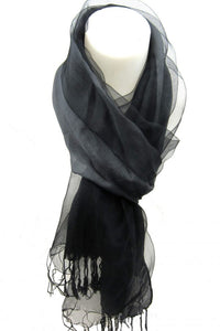 Sheer Contrast Grey/Black Scarf