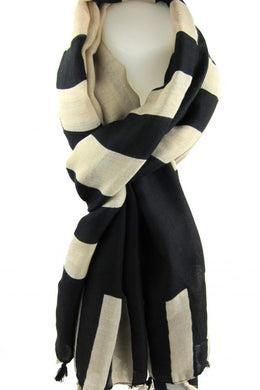 Beige & Black Block Pattern Scarf