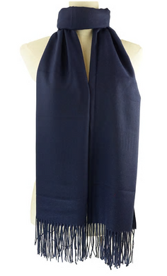 Navy Cashmere Scarf With Tassels